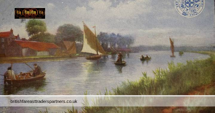 ANTIQUE 1905 Fishing Contest NORFOLK BROADS HORNING ENGLAND GREAT EASTERN RAILWAY RAPHAEL TUCK & SONS LTD Signed OILETTE COLLECTABLE TOPOGRAPHICAL POSTCARD