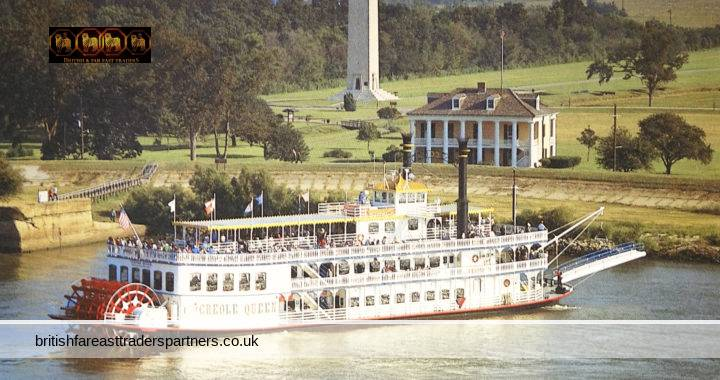 VINTAGE 1986 CREOLE QUEEN PLANTATION RIVER CRUISE CREOLE DINNER JAZZ CRUISE Mississippi River New Orleans Paddlewheel Inc. Alfred VERVILLE Stamped POSTCARD