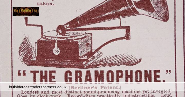 ANTIQUE 1899 19th CENTURY VICTORIAN GRAMOPHONE Berliner's Patent IMHOF & MUKLE LONDON COLLECTABLE Wide World Magazine Advertisement
