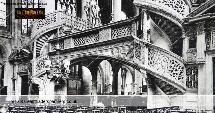 VINTAGE SAINT-ETIENNE DU MONT CHURCH  Le Jube RELIGION Architecture PARIS FRANCE RPPC POSTCARD