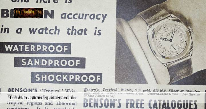 VINTAGE 1938 BENSON TIME IS GREENWICH TIME LONDON TROPICAL Wrist Watch OVERSEAS DAILY MAIL Collectable Newspaper Advert WATCHES ADVERTISEMENTS EPHEMERA