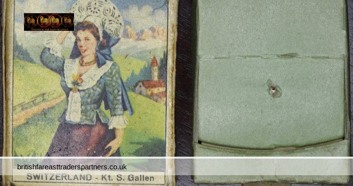 VINTAGE SWITZERLAND Kanton St Gallen GENTIANS ALPINE Flowers & Costumes MADE IN ITALY COLLECTABLE TOPOGRAPHICAL FASHION COSTUMES TOBACCIANA / SMOKING KITCHENALIA Matchbox