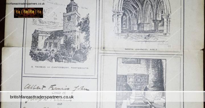 VINTAGE SUNDAY October 23 1927 HOLY BAPTISM Record Certificate St. Thomas of Canterbury  PORTSMOUTH ENGLAND RELIGIOUS CHRISTIANITY EPHEMERA RESEARCH GENEALOGY COLLECTABLE EPHEMERA