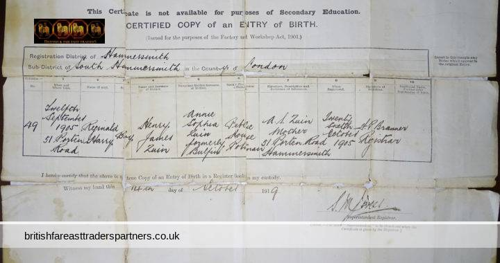 ANTIQUE 14th OCTOBER 1919 Certified Copy of Entry of Birth REGINAL HARRY ZUIN Born on 12th September 1905 Boy 51 PORTER ROAD HAMMERSMITH County of LONDON COLLECTIBLE DOCUMENTS EPHEMERA GENEALOGY RESEARCH