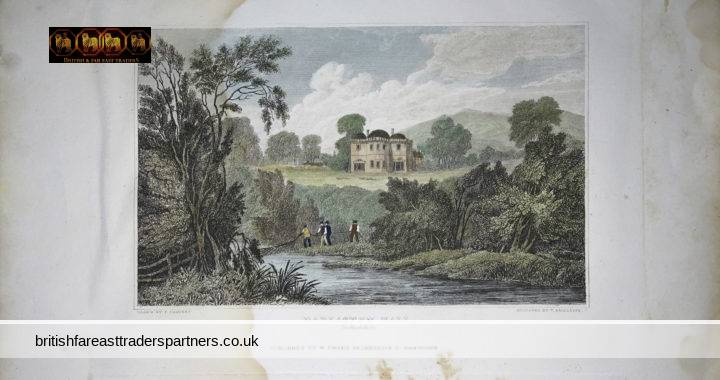 ANTIQUE DARLASTON HALL Staffordshire ENGLAND Drawn by CALVERT Engraved by T RADCLYFFE Published by W EMANS Bromsgrove St, Birmingham TOPOGRAPHICAL LANDSCAPE ARCHITECTURAL COLLECTIBLE PRINT ART