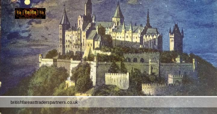 VINTAGE 4th JULY 1925 Burg Hohenzollern CASTLE NIGHT in FULL MOON GERMANY COLLECTABLE TOPOGRAPHICAL Postcard