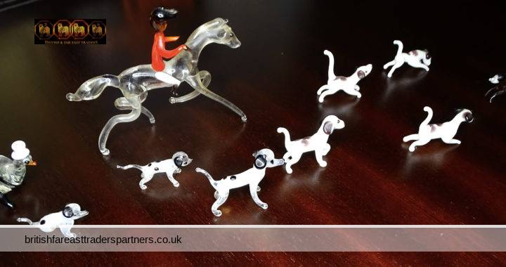 VINTAGE Lot of 10 MURANO Hand Blown Glass Miniatures Country HUNTING Scene + Brown Leather BOX COLLECTABLE GLASS ART HUNTING COUNTRY ANIMALS
