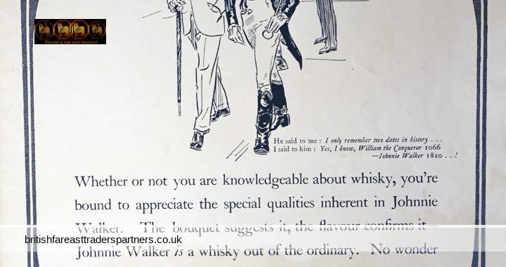 VINTAGE 4th MAY 1935 Johnnie Walker WHISKY The ILLUSTRATED LONDON NEWS Collectable Spirits / Distillery WHISKY EPHEMERA ADVERTISEMENT