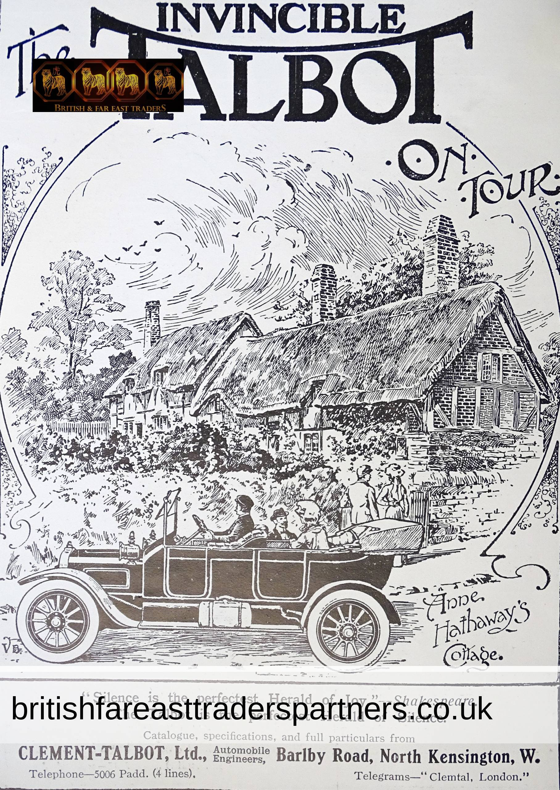 ANTIQUE 1st JULY 1911 The INVINCIBLE TALBOT on TOUR Anne Hathaway's COTTAGE Clement-Talbot Ltd The SPHERE Magazine Ad COLLECTABLE TRANSPORT EPHEMERA ADVERTISEMENT