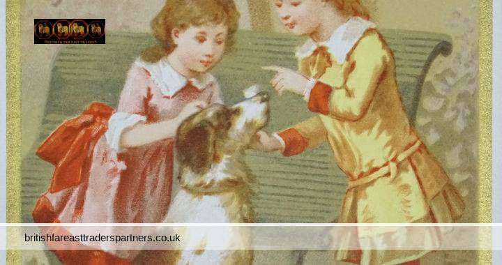 ANTIQUE Victorian SUMMER ENGLISH / FRENCH Park Scene 2 Young Girls & Dog FANCY Calling CARD COLLECTABLE FASHION & BEAUTY CHILDREN ART SOCIAL HISTORY EPHEMERA