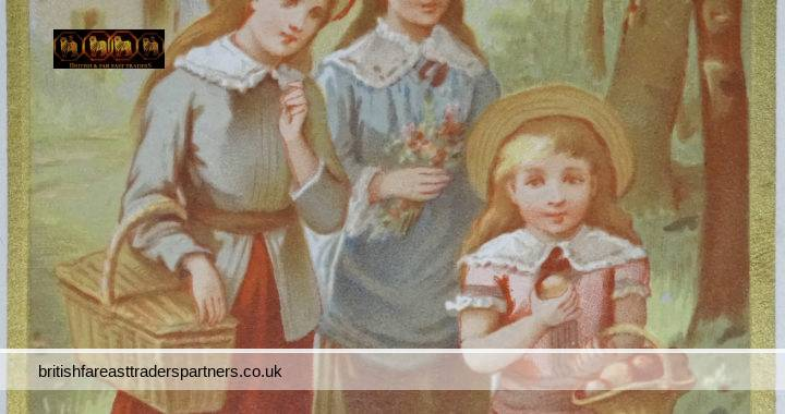 ANTIQUE Victorian SUMMER ENGLISH / FRENCH Country Scene Young Ladies with PICNIC BASKET, APPLES,  and a POSY of FLOWERS FANCY Gilded Edge Calling / Visiting CARD COLLECTABLE ART FASHION & BEAUTY SOCIAL HISTORY EPHEMERA