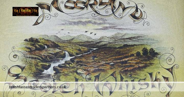 VINTAGE MOORLAND Scotch Whisky Collectable TRADING / ADVERTISING GOLD Accented Lettering Card