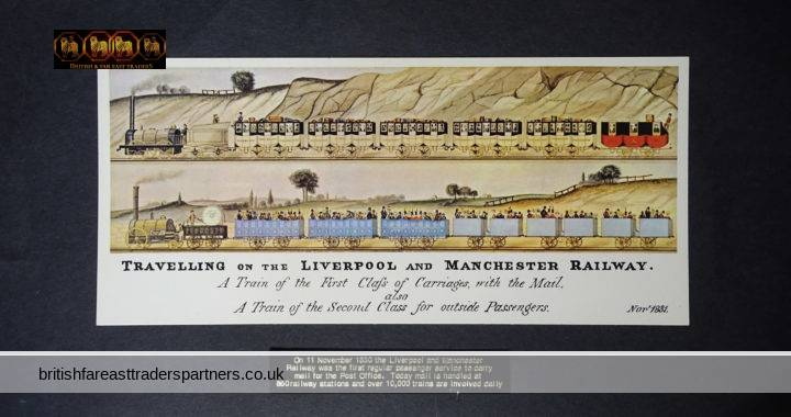 Travelling on the LIVERPOOL and MANCHESTER RAILWAY NOVEMBER 1831 Commemorative POSTCARD COLLECTABLE TRANSPORT RAILWAYANA