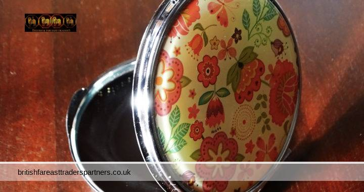 VINTAGE Colourful SPRING SUMMER Floral GARDEN Double Mirror COLLECTABLE Compact VANITY / GROOMING / BEAUTY