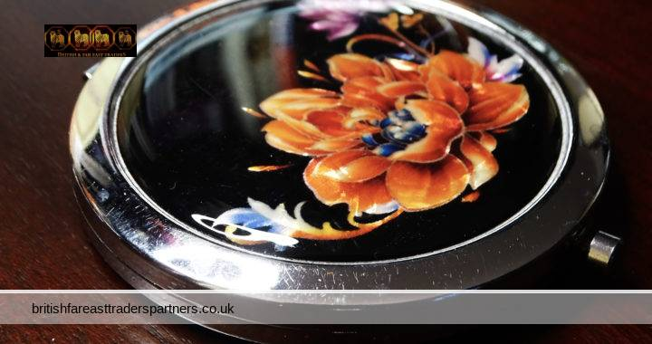 """VINTAGE BLACK Faux Mother of Pearl Florals Double Mirror PERSONALISED """"Jenny""""Engraved SILVERTONE Compact VANITY / GROOMING / BEAUTY"""