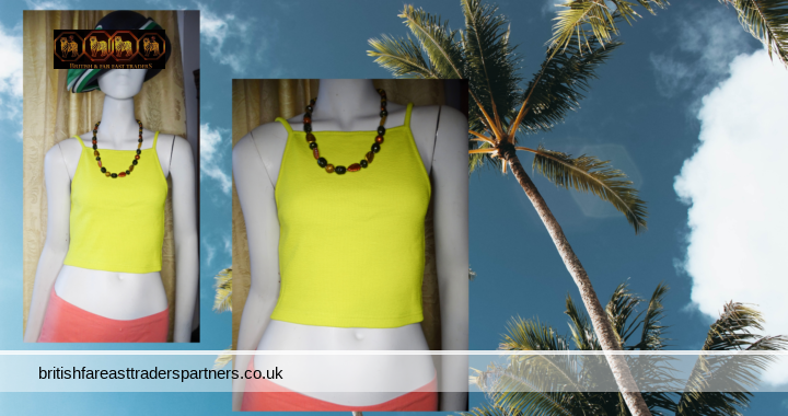 Ladies' Women's TOPSHOP TALL SUMMER HOLIDAYS Neon LIME /  Yellow Green Ribbed & Cropped Cami Vest Top UK 12 / EURO 40 / US 8