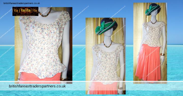 Ladies' Women's DENIM CO PRETTY Florals BARDOT Shoulders SPRING / SUMMER 100% COTTON Button Up Top UK 12 / ES /PT 40 / D / NL 38