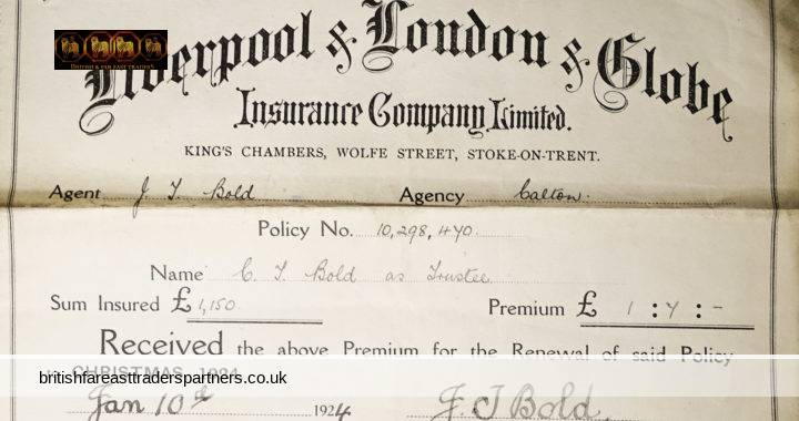 VINTAGE 10th JANUARY 1924 Liverpool & London & Globe INSURANCE COMPANY LIMITED FIRE DEPARTMENT Receipt / Certificate COLLECTABLE EPHEMERA