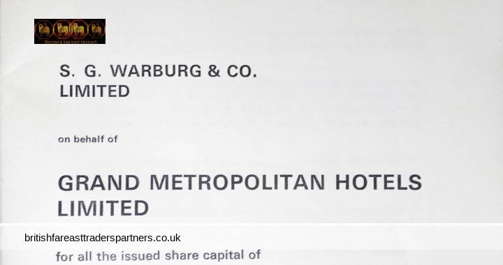 VINTAGE 15th August 1969 OFFERS TO ACQUIRE STOCK S.G. WARBURG & CO. LIMITED on behalf of GRAND METROPOLITAN HOTELS LIMITED for all the issued share capital of EXPRESS DAIRY COMPANY LIMITED COLLECTABLE DOCUMENTS / EPHEMERA BUSINESS STOCKS & SHARES INVESTMENT BANKING FINANCE MERGERS & ACQUISITIONS (M&A)