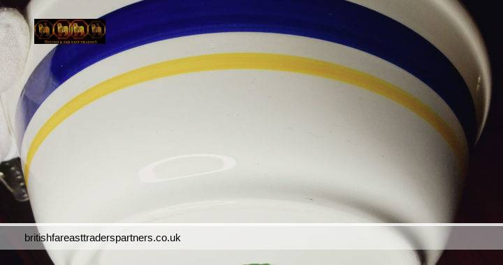 VINTAGE HAND PAINTED Heat Resisting Made in England KITCHEN / FRUIT / MIXING Bowl OFF- WHITE  ACCENTS of Colour Block Stripes of BLUE & YELLOW BRITISH CERAMICS / KITCHENALIA / STUDIO POTTERY/ FARMHOUSE / BARN / COTTAGE LIVING