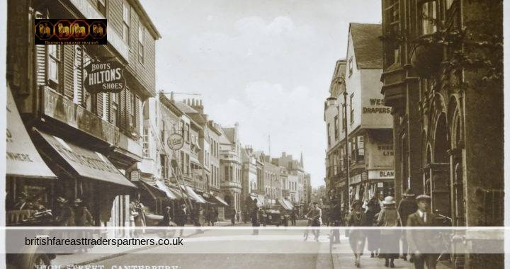 VINTAGE HIGH STREET CANTERBURY KENT ENGLAND Stamped The Harrisburg Academy + DICKINSON COLLEGE LIBRARY  COLLECTABLE RPPC Post Card HISTORICAL / TOPOGRAPHICAL / TOURISM / TRAVEL / TRADE & COMMERCE / SOCIAL HISTORY / FASHION