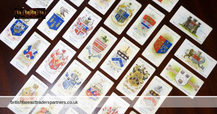 VINTAGE Wills's Cigarettes CARDS CITY / TOWN / BOROUGH ARMS Imperial Tobacco Co Ltd GREAT BRITAIN & IRELAND COLLECTABLE TOBACCIANA PICTURE CARDS HISTORY / RESEARCH