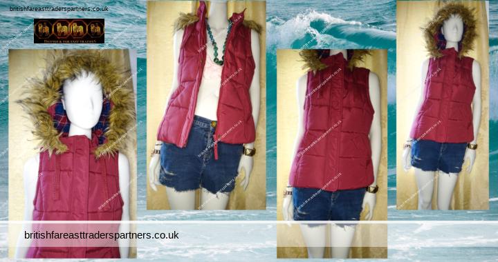 Ladies' Women's GEORGE BURGUNDY / WINE RED PADDED Hooded Faux Fur GILET / BODYWARMER Sleeveless Jacket UK 12 / EUR 40