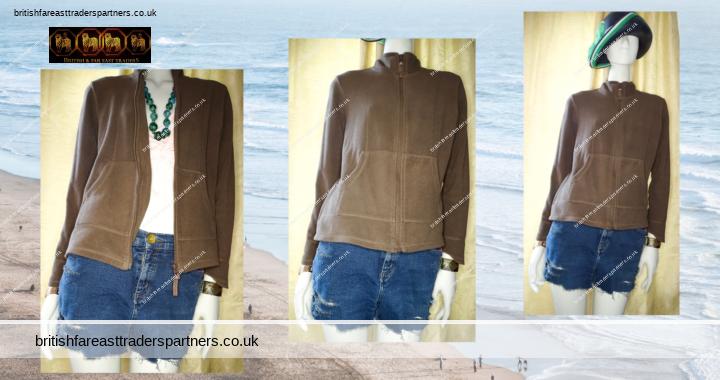 Ladies' Women's TU Chocolate BROWN Zip Up Microfleece Lightweight Jacket UK 14