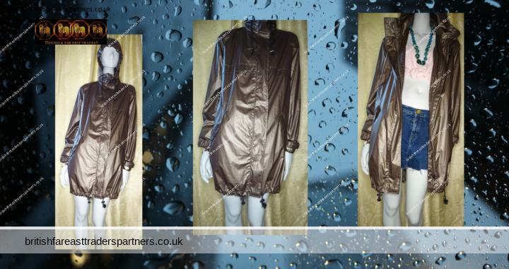 Ladies Women's VERY Golden DARK BROWN Hooded Parka LIGHTWEIGHT SHOWERPROOF / RAINPROOF Coat / Jacket UK 12
