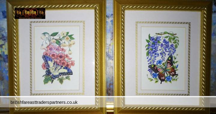 VINTAGE LOT OF 2 BOLD & COLOURFUL SUMMER FLOWERS & BUTTERFLIES MATTED Art Print TWISTED ROPE DETAIL WOODEN FRAME PICTURE / WALL ART / HOME DECOR