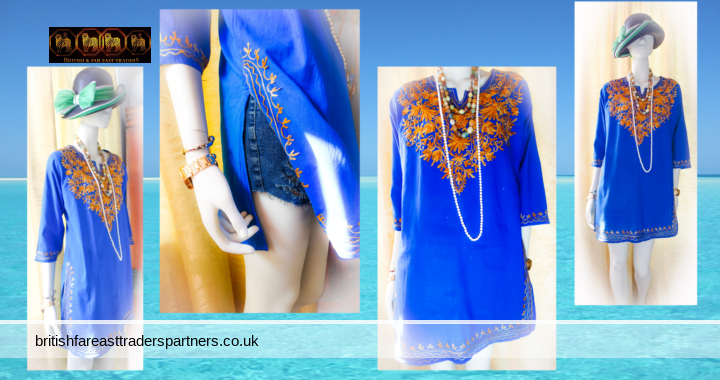 Ladies' Women's Hand Embroidered ROYAL BLUE 100% COTTON LIGHTWEIGHT & BREATHABLE INDIAN Tunic Top UK 16 / 18 LARGE