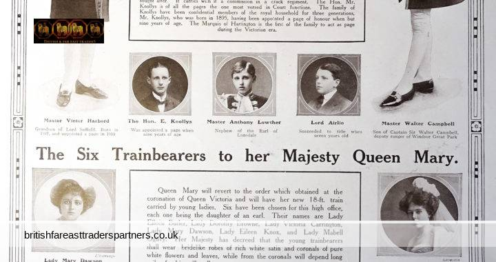 VINTAGE JUNE 24 1987 THE EIGHT TRAINBEARERS TO HIS MAJESTY KING GEORGE V and THE SIX TRAINBEARERS TO HER MAJESTY QUEEN MARY THE SPHERE LONDON LONDON SOCIETY / HIGH SOCIETY / ROYALTY COLLECTABLES / BEAUTY & FASHION / EPHEMERA