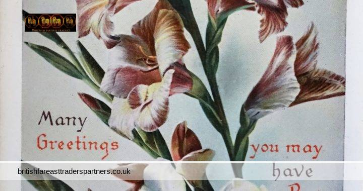 VINTAGE / ANTIQUE BEST BIRTHDAY WISHES FLORAL FINSBURY SERIES PUBLISHED BY BELL, PICCARD & CO. LTD. LONDON E.C. PRINTED IN SAXONY GERMANY COLLECTABLES | POSTCARDS | GREETINGS