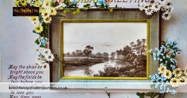 VINTAGE / ANTIQUE BIRTHDAY GREETING FLORAL & COUNTRYSIDE SCENE PRINTED IN SAXONY GERMANY COLLECTABLES | POSTCARDS | GREETINGS