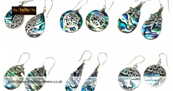 HANDMADE ABALONE / MOTHER OF PEARL 925 STERLING SILVER EARRINGS MADE IN BALI INDONESIA JEWELLERY