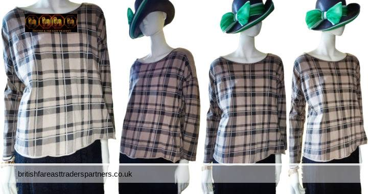 Ladies' Women's ITALIAN TAUPE / Brown Grey COTTON Check Tartan Relaxed Fit One Size Long Sleeve Top WOMEN'S CLOTHING TOPS & SHIRTS ITALIAN FASHION