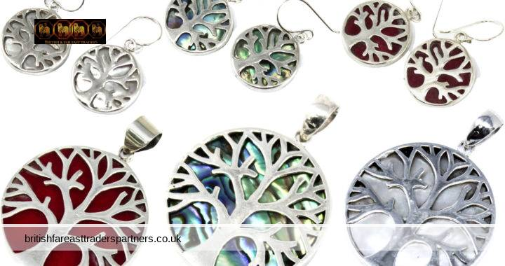 TREE OF LIFE 925 SILVER JEWELLERY MOTHER OF PEARL | ABALONE | CORAL EFFECT  MADE IN INDONESIA FASHION COSTUME JEWELLERY