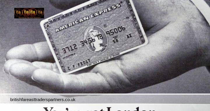 VINTAGE 1980s AMERICAN EXPRESS CARD YOU'VE GOT LONDON IN THE PALM OF YOUR HANDS CUNARD MAGAZINE ADVERTISING | COLLECTABLE  FINANCE ADVERTISEMENT | SHOPPING | DINING | ENTERTAINMENT BUSINESS | LIFESTYLE | LUXURY PRINTS | EPHEMERA