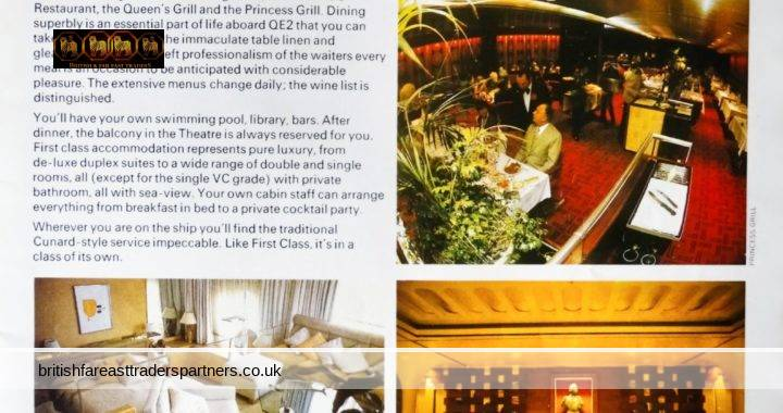 VINTAGE QUEEN ELIZABETH II FIRST CLASS IN A CLASS OF ITS OWN CUNARD CRUISES CUNARD MAGAZINE COLLECTABLES | SEA TRANSPORT | CRUISES | HOLIDAYS | LIFESTYLE TOURS & TRAVELS | EPHEMERA | ADVERTISING