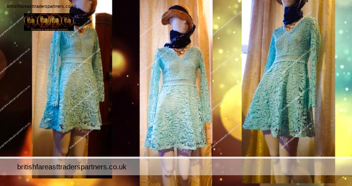 FASHION INSPIRATION: UK Size 10 Boohoo Crochet Lace Long Sleeved Blue/Turquoise Skater Dress – Party