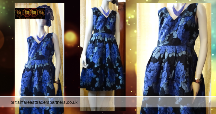 LOUCHE LUXE COURTLAND LONDON  Luxury Blue/Black Floral Princess Occasion Ball Party Dress UK 16 / XL BNWOT