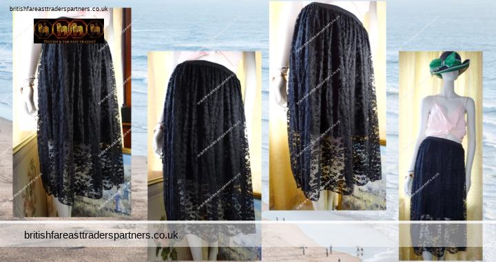 LADIES' WOMEN'S RIVIERA CHIC SOFT BLACK LACE SPRING / SUMMER Midi Skirt Elasticated Waist Half Lined UK 8 / 10 / 12 / 14 / 16