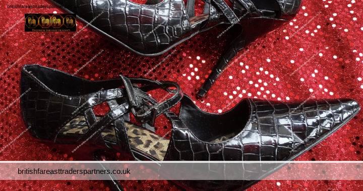 NEXT Ladies BLACK Croc Effect Cross-strap Cutout Patent Leather Pointed Toe Killer STILETTOS UK Size 6