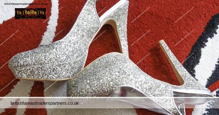 Ladies BARRATTS  Silver Glitter  VERY High Platform Stiletto PARTY Slingbacks UK 5