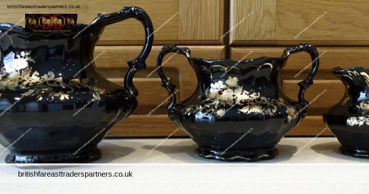 Set Of Three VINTAGE  Jackfield Type  Blackwares Gold Details  Teapot ,Creamer & Bowl