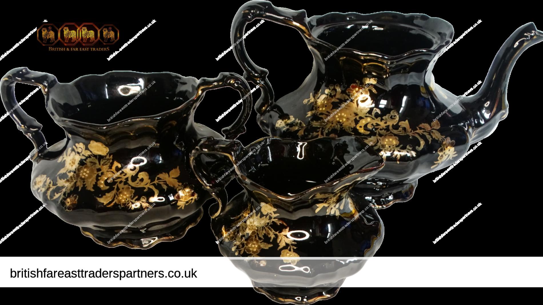 VINTAGE  STUNNING LOT OF 3 VICTORIAN COLLECTABLES  Tea Pot | Sugar Pot | Creamer Jug BLACK & GOLD FLORAL FOLIATE TEA SERVER | DISPLAY COLLECTABLES | VICTORIAN HOMEWARE | SERVEWARE