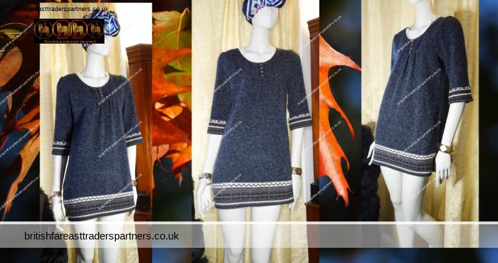 Ladies' Women's Grey PACIENTE COLLEZIONE Woolen Jumper Dress / Tunic  AZTEC & Lace Collar Size M