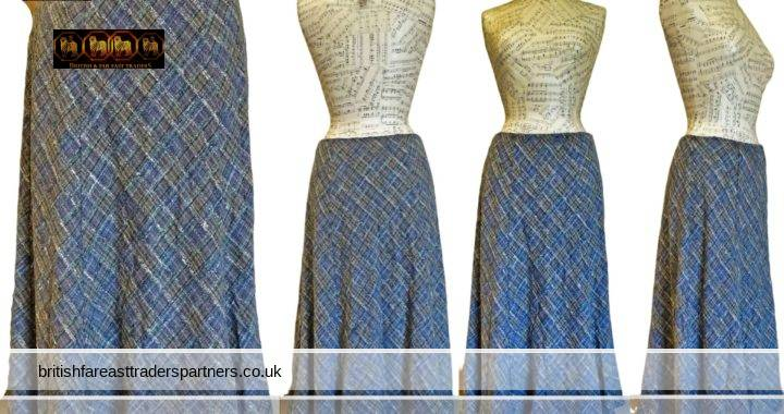 Ladies' Women's WEALTH OF NATIONS Multi-colour Wool Blend Tweed Tartan Midi Skirt  Size 12 A-Line