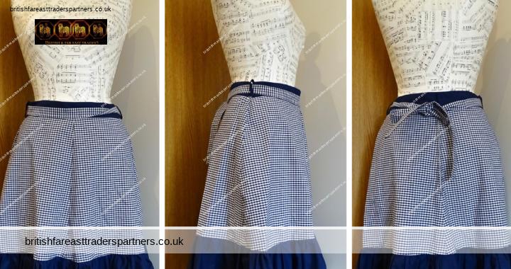 TRUE Vintage 70s  Western Blue White Gingham  Prairie Cotton Midi Skirt  Waist 28 inches Estimated UK Size 8-10