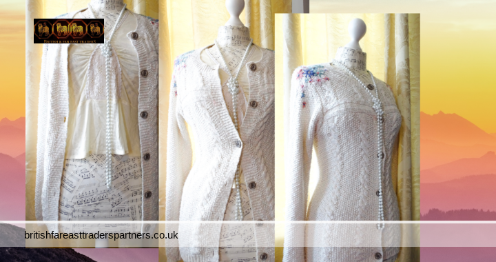 FALMER HERITAGE Women's Ladies Chunky Knit Cream Cardigan Pastel Flowers & threads UK Size 10
